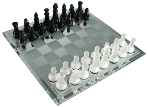 avant garde black frosted glass chess set