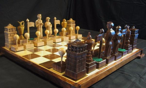 custom made chess board and pieces