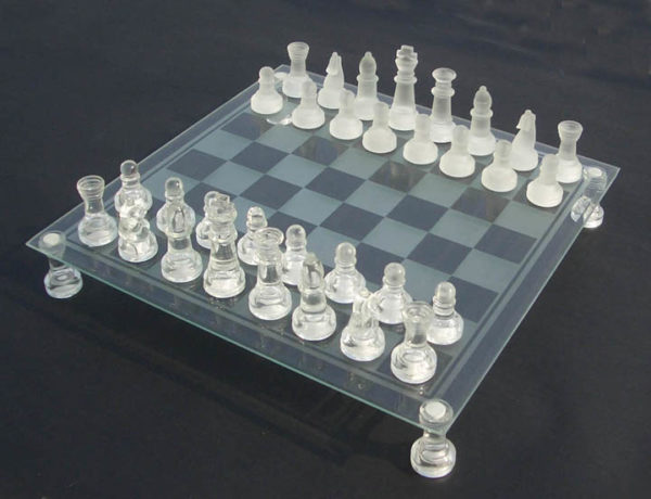 glass chess board and pieces