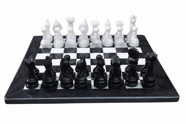 marble chess board and pieces