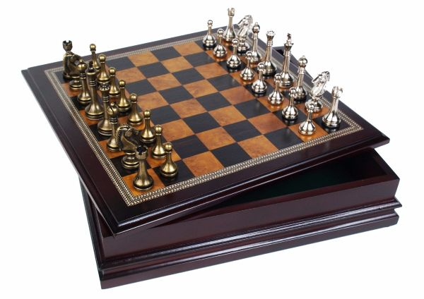 metal chess board and pieces