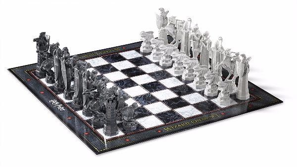 themed chess board and chess pieces