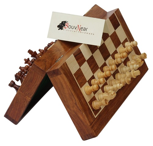 "SouvNear 10.5"" Wood Chess Set - Handmade Premium Magnetic Folding Chess Board - Wooden Travel Staunton Chess Game with Built in Storage"