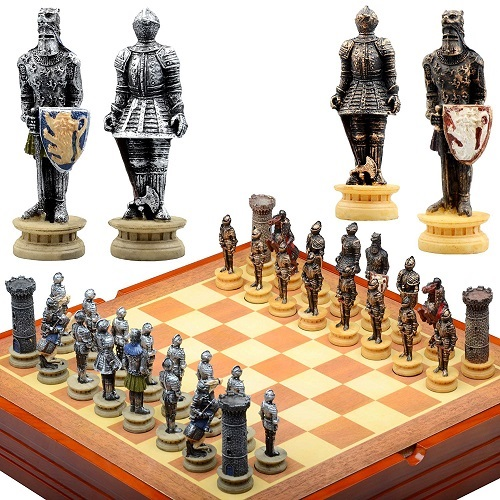 wooden medieval knight board and pieces