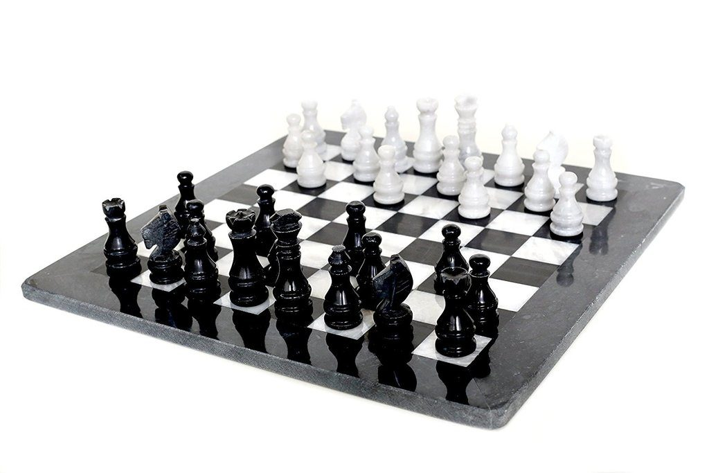 Radicaln marblestone 16 Inches Large White and Black Chess Set
